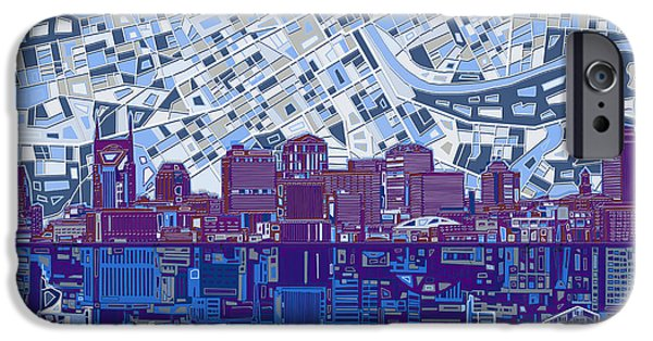Nashville Skyline Abstract 8 IPhone Case by Bekim Art