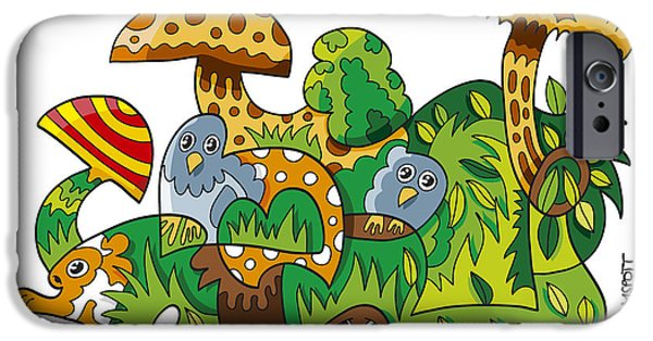 Nature Doodle Mushroom Grass IPhone Case by Frank Ramspott