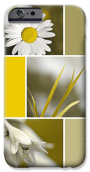 Nature's Beauty Golden Flowers Collage IPhone Case by Christina Rollo