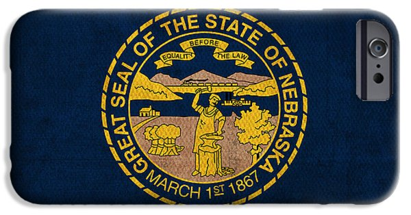 Nebraska State Flag Art On Worn Canvas IPhone Case by Design Turnpike