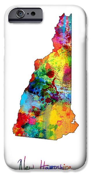 New Hampshire Map IPhone Case by Michael Tompsett