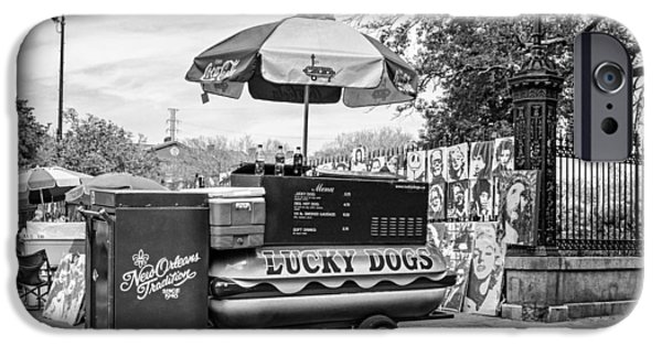 New Orleans - Lucky Dogs Bw IPhone Case by Steve Harrington