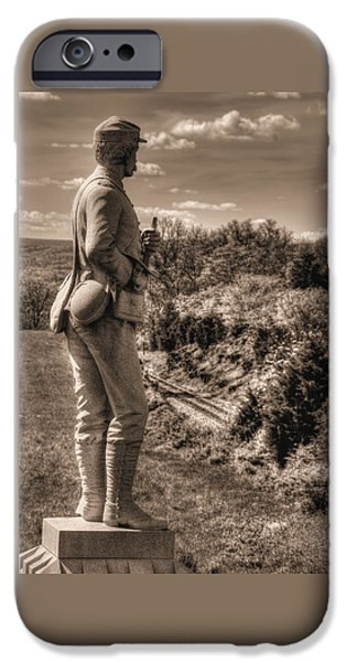 New York At Gettysburg - 84th Ny Vol Infantry 14th Brooklyn Regiment Red Legged Devils Railroad Cut IPhone Case by Michael Mazaika