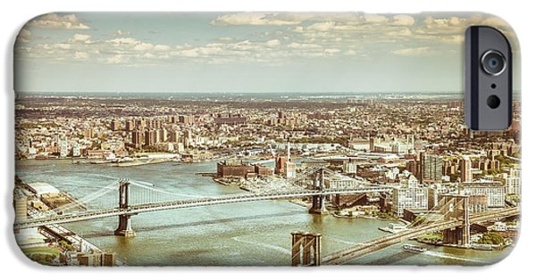 New York City - Brooklyn Bridge And Manhattan Bridge From Above IPhone Case by Vivienne Gucwa