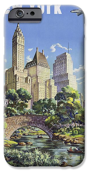 New York Vintage Travel Post IPhone Case by Jamey Scally