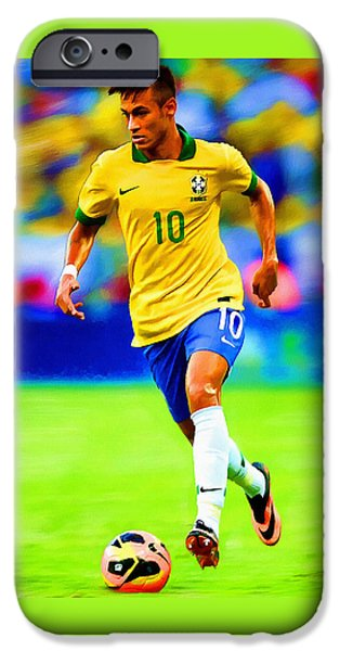 Neymar Soccer Football Art Portrait Painting IPhone Case by Andres Ramos