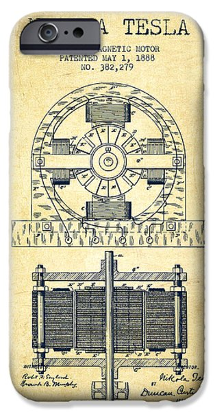 Nikola Tesla Electro Magnetic Motor Patent Drawing From 1888 - V IPhone Case by Aged Pixel