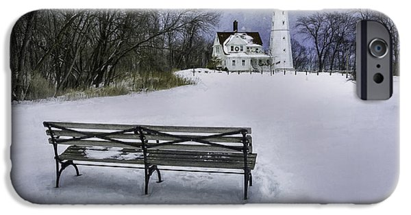 North Point Lighthouse And Bench IPhone Case by Scott Norris
