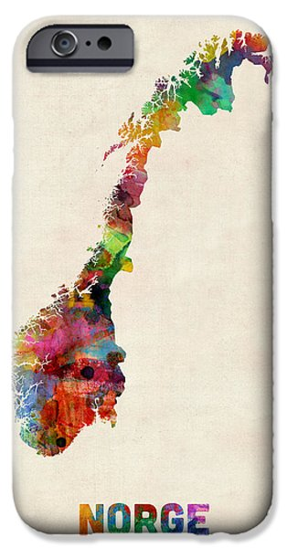 Norway Watercolor Map IPhone Case by Michael Tompsett