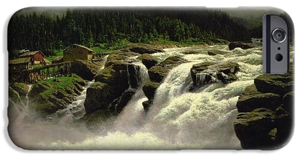 Norwegian Waterfall IPhone Case by Karl Paul Themistocles van Eckenbrecher