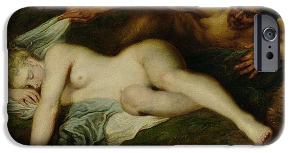 Nymph And Satyr IPhone Case by Jean Antoine Watteau