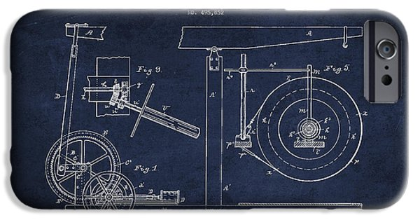Oil Well Apparatus Patent From 1893 - Navy Blue IPhone Case by Aged Pixel
