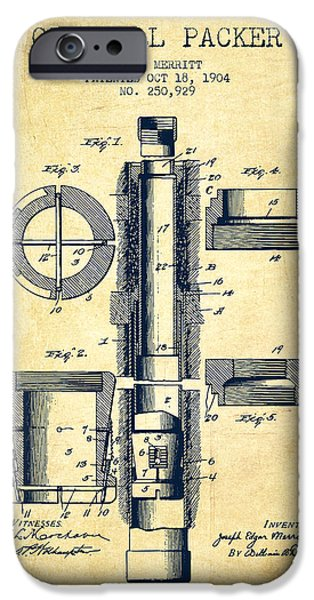 Oil Well Packer Patent From 1904 - Vintage IPhone Case by Aged Pixel