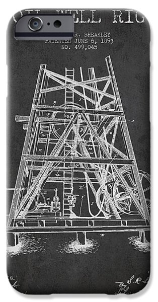 Oil Well Rig Patent From 1893 - Dark IPhone Case by Aged Pixel