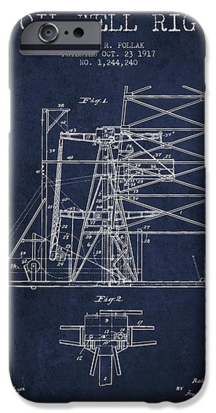 Oil Well Rig Patent From 1917- Navy Blue IPhone Case by Aged Pixel