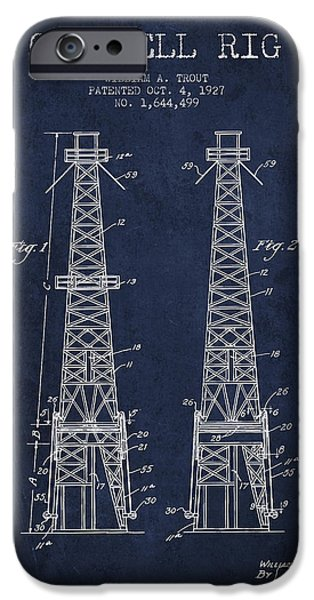 Oil Well Rig Patent From 1927 - Navy Blue IPhone Case by Aged Pixel