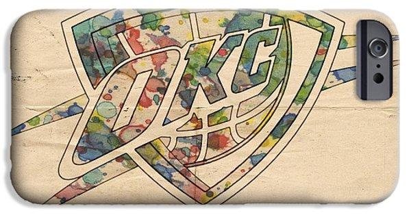 Okc Thunder Logo Art IPhone Case by Florian Rodarte