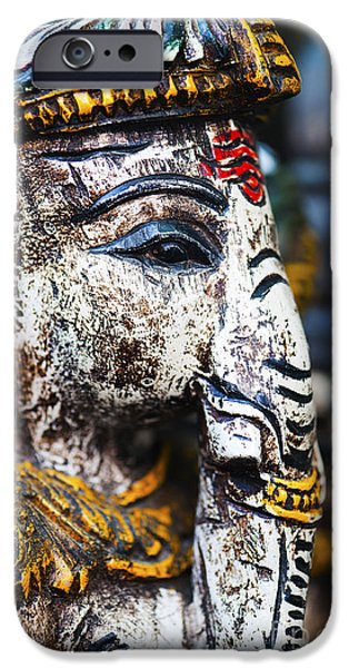 Old Painted Wooden Ganesha IPhone Case by Tim Gainey