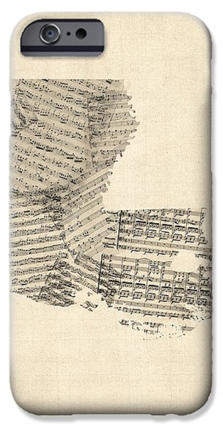 Old Sheet Music Map Of Louisiana IPhone Case by Michael Tompsett
