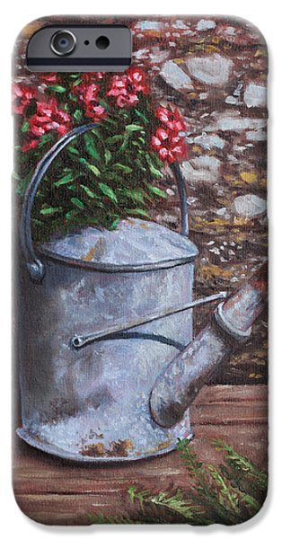 Old Watering Can With Flowers By Stone Wall IPhone Case by Martin Davey