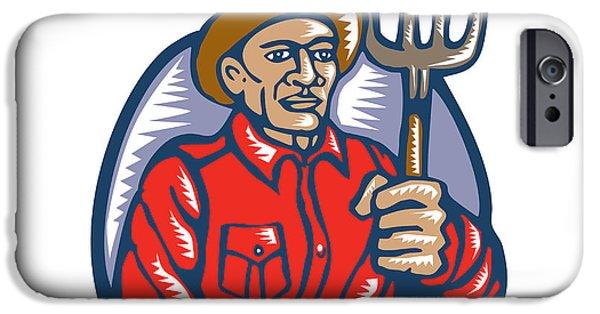 Organic Farmer Holding Pitchfork Woodcut Linocut IPhone Case by Aloysius Patrimonio