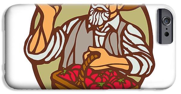 Organic Farmer Tomato Basket Woodcut Linocut IPhone Case by Aloysius Patrimonio