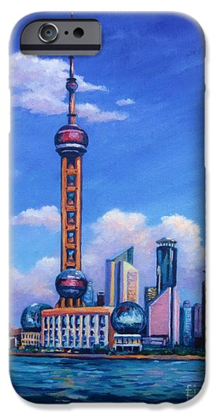 Oriental Pearl Shanghai IPhone Case by John Clark