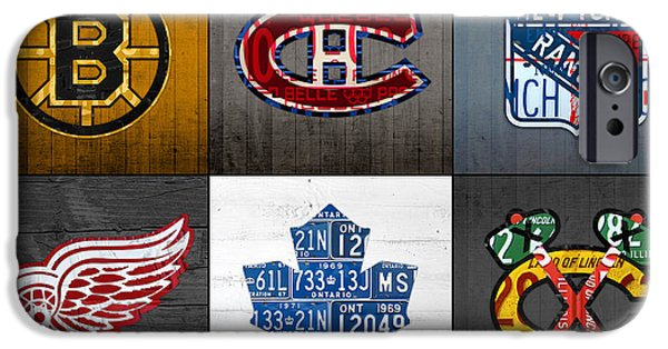 Original Six Hockey Team Retro Logo Vintage Recycled License Plate Art IPhone Case by Design Turnpike