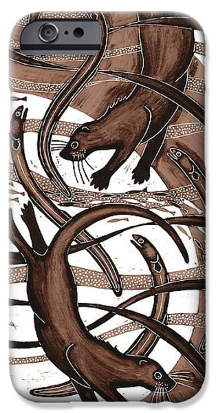 Otter With Eel, 2013 Woodcut IPhone Case by Nat Morley
