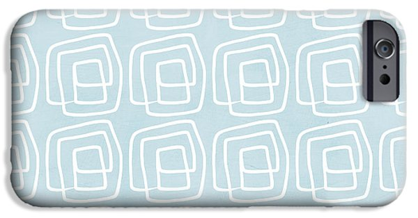Out Of The Box Blue And White Pattern IPhone Case by Linda Woods