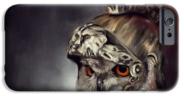 Owl Roman Warrior IPhone Case by Lourry Legarde
