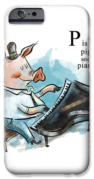 P Is For Pig IPhone Case by Sean Hagan