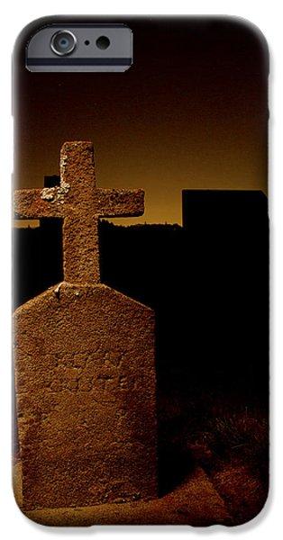 Painted Cross In Graveyard IPhone Case by Jean Noren