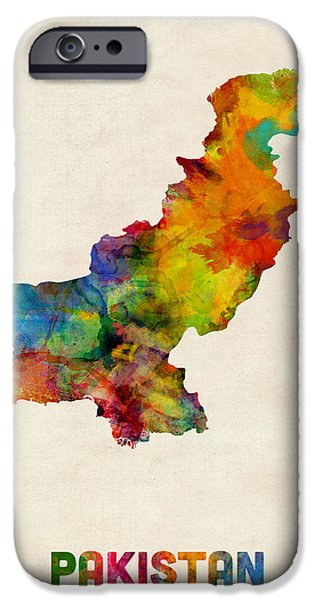 Pakistan Watercolor Map IPhone Case by Michael Tompsett