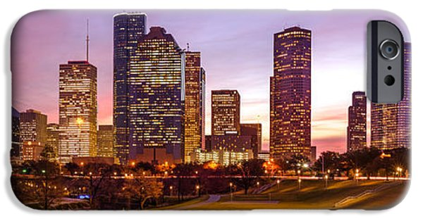 Panorama Of Downtown Houston At Dawn From Eleanor Tinsley Park - Houston Texas Harris County IPhone Case by Silvio Ligutti