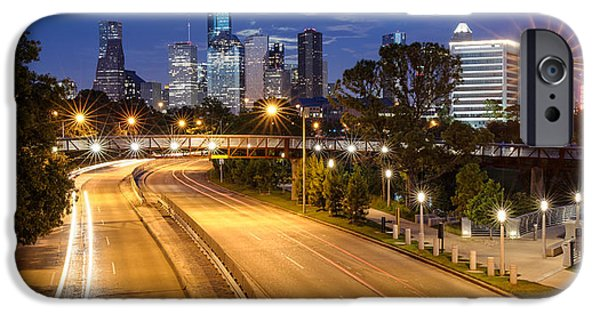 Panorama Of Downtown Houston With Super Moon Rising Behind - Houston Texas IPhone Case by Silvio Ligutti