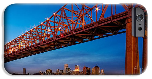Panorama Of New Orleans And Crescent City Connection From Gretna At Dusk - Louisiana IPhone Case by Silvio Ligutti