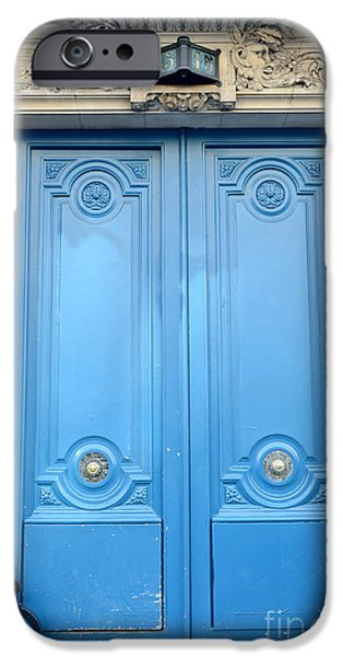 Paris Blue Doors No. 15  - Paris Romantic Blue Doors - Paris Dreamy Blue Doors - Parisian Blue Doors IPhone Case by Kathy Fornal