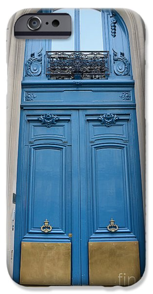 Paris Blue Doors - Paris Romantic Blue Doors - Paris Dreamy Blue Door Art - Parisian Blue Doors Art  IPhone Case by Kathy Fornal
