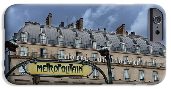 Paris Metropolitain Sign At The Paris Hotel Du Louvre Metropolitain Sign Art Noueveau Art Deco IPhone 6s Case by Kathy Fornal