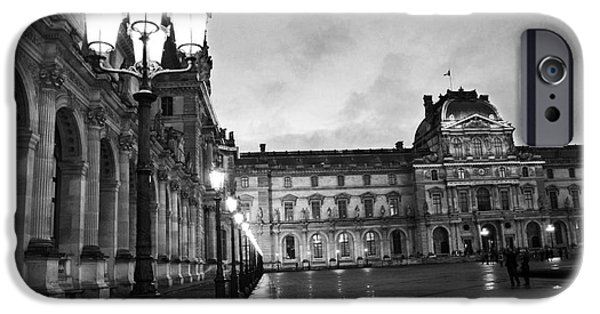 Paris Louvre Museum Lanterns Lamps - Paris Black And White Louvre Museum Architecture IPhone 6s Case by Kathy Fornal