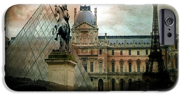 Paris Louvre Museum Pyramid Architecture - Eiffel Tower Photo Montage Of Paris Landmarks IPhone 6s Case by Kathy Fornal