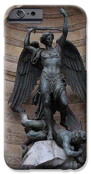 Paris - Saint Michael Archangel Statue Monument - Saint Michael Slaying The Devil IPhone Case by Kathy Fornal