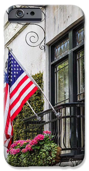 Patriotic Balcony Savannah Georgia IPhone Case by Dawna  Moore Photography