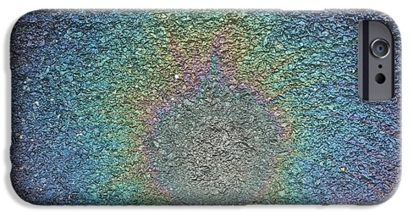 Peacock Eye Oil Slick Stain IPhone Case by Denise Keegan Frawley