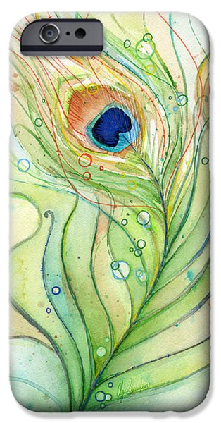 Peacock Feather Watercolor IPhone 6s Case by Olga Shvartsur