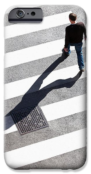 Pedestrain Crossing The Street On Zebra IPhone Case by Panoramic Images
