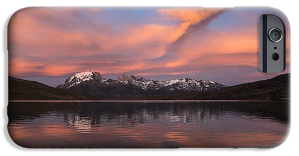 Pehoe Lake At Sunset Paine Massif IPhone Case by Pete Oxford