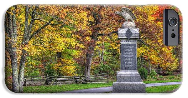 Pennsylvania At Gettysburg - 115th Pa Volunteer Infantry De Trobriand Avenue Autumn IPhone Case by Michael Mazaika