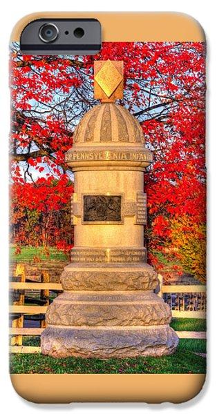 Pennsylvania At Gettysburg - 63rd Pa Volunteer Infantry - Sunrise Autumn Steinwehr Avenue IPhone Case by Michael Mazaika